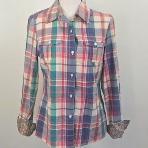 Tommy Hilfiger plaid Paisley Button Down Small